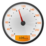 Speedometer. Oval speedometer (colors: white, grey, red and yellow). Illustration Stock Photos