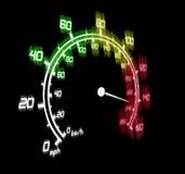 Speedometer. Illustration of the speeding car speedometer dangerous zone Stock Images