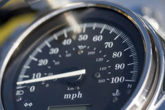 Speedometer. Motorcycle speedo up to 100 MPH stock images