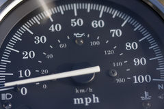 Speedometer. Motorcycle speedo up to 100 MPH royalty free stock image