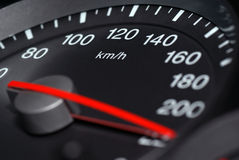 Speedometer. Speedometer passenger car, showing a higher speed Stock Photo