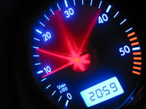 Speedometer. 1,2,3... Go! Shifting up to the highest gear. The need for speed royalty free stock photo