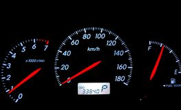Speedometer. A close up image of speedometer of the car Stock Photo