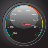Speedometer. Illustration of the speedometer with the date 2011 Stock Images