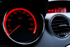 Speedometer. Panel of devices, speedometer, auto ventilation, the interior of the car, the driver's seat, chromium, chromium-plated rings, metal, sports car Stock Photography