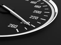 Speedometer. 3d render of speedometer with moving arrow and high speed Stock Photos