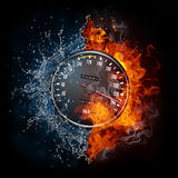 Speedometer. In Fire and water Isolated on Black Background Royalty Free Stock Photos