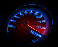 Speedometer 2013. Vector illustration of a speedometer on a dark background Royalty Free Illustration