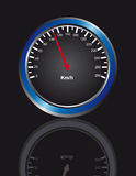 Speedometer. Blue, white and black Speedometer over gray background.  vector Royalty Free Stock Photography