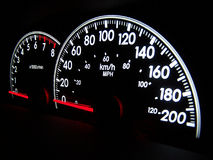 Speedometer. Digital speedometer glowing in the dark with tachometer beside royalty free stock photo