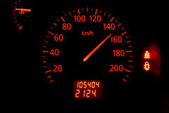 Speedometer. Car speedometer with needle at 150 km/h Royalty Free Stock Images