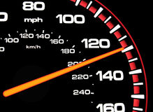 Speedometer. A speedometer showing approximately 130mph.  Speedometer is lit for night driving Stock Photography