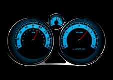 Speedometer. Illustration of a car speedometer on black Stock Photography