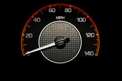 Speedometer. Automobile Speedometer on Black Background Royalty Free Stock Image
