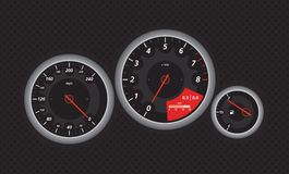 Speedometer. From fast car, with red details. Vectored eps illustration Stock Image