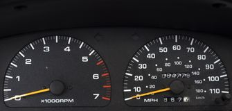 Speedometer. And tachometer of a car in black color Royalty Free Stock Images