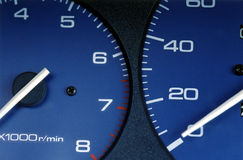 Speedometer. Close up of a speedometer in a car Stock Photos