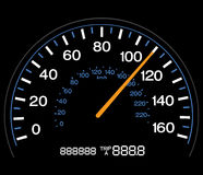 Speedometer. Vector illustration of an illuminated speedometer with odometer Royalty Free Stock Photos
