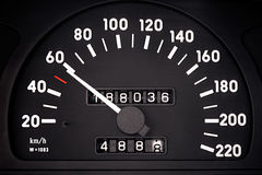 Speedometer. Automobile speedometer is photographed close-up Stock Photography