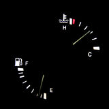 Speedometer. In car, fuel, black background, auto Stock Image