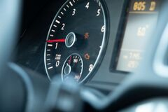 Free Speedometer And Steering Wheel In Auto Close Up Royalty Free Stock Photos - 216532968