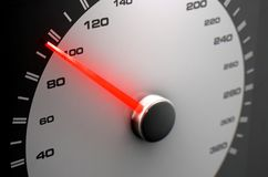 Speedometer Average. A sporty speedometer with a glowing orange needle pointing towards an average speed on an isolated black background - 3D render stock photography