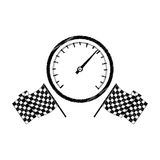 Speedometer award in monochrome striped with racing flags Stock Photos