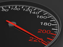Speedometer on black background. 3D Royalty Free Stock Photos