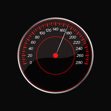 Speedometer on a black background. Red scale Stock Images