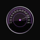 Speedometer on a black background. Violet scale Stock Photo