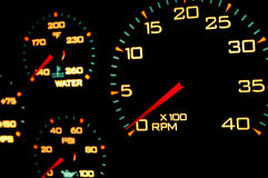 Speedometer, with blur. Car speedometer with red needle on zero Royalty Free Stock Image
