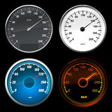 Speedometer car. Four speedometers on black backgrounds royalty free illustration