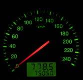 Speedometer in car. Illuminated speedometer in car dashboard Stock Images