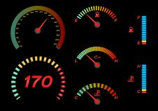 Speedometer for car . Fuel Gauge and Tachometer vector royalty free illustration