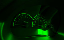 Speedometer of the car green royalty free stock images