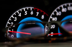 Speedometer. In a car, motorsport Stock Image