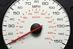 Speedometer at 10 MPH. Speedometer of a car at 10 MPH royalty free stock image