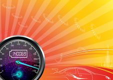 The speedometer of a car on a orange background Royalty Free Stock Photography