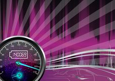 The speedometer of a car on a purple background Stock Image