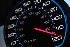 Speedometer. Car speedomoter with mileage clock Royalty Free Stock Photo