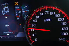 Speedometer. Car speedomoter with mileage clock Royalty Free Stock Photography