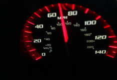 Speedometer. Car speedomoter with mileage clock Stock Photography