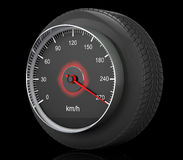 Speedometer in Car Wheel Tyre. 3d Rendering Stock Image