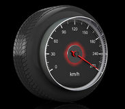 Speedometer in Car Wheel Tyre. 3d Rendering Stock Photography