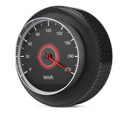 Speedometer in Car Wheel Tyre. 3d Rendering Stock Images