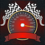 Speedometer with checkered flags and banner Stock Photo