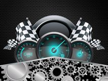 Speedometer and checkered flags with concept gears Stock Image