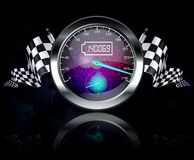 Speedometer and checkered flags Stock Images
