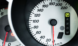 Speedometer. Closeup Speedometer monitor on the car Royalty Free Stock Photos