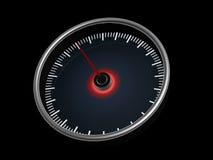 Speedometer on dark background. Speedometer with red pointer on dark background Royalty Free Stock Images